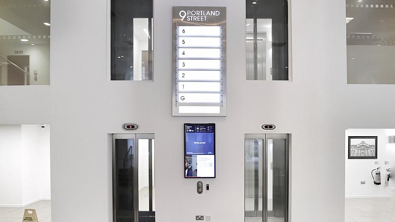 A digital screen within 9 Portland Street