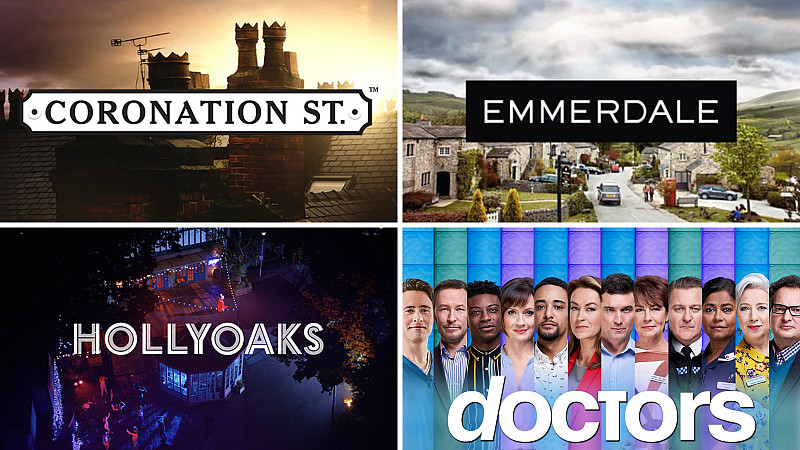 Title cards for Hollyoaks, Coronation Street, Emmerdale and Doctors
