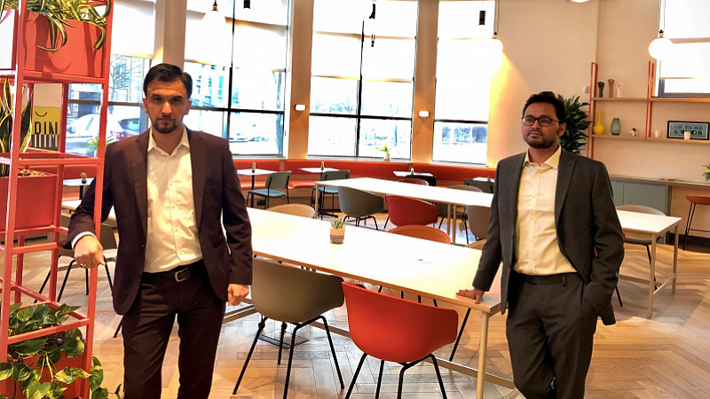 Twin Dynamics co-founders Noukheaz Ahmed (left) and Shrawasti Sahare