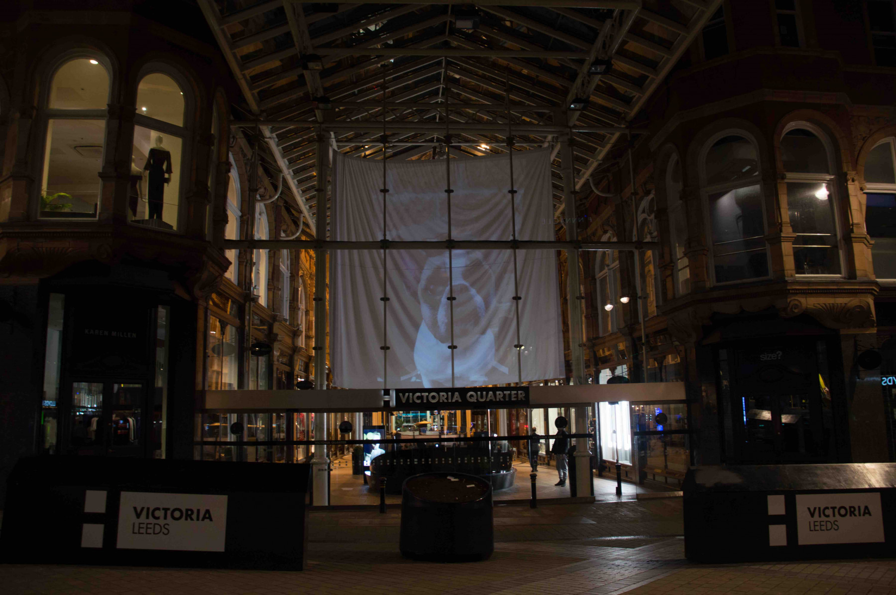 Carat leeds has used a huge 46 ft projection over the entrance of the citys victoria quarter as part of an engagement campaign for the light night leeds