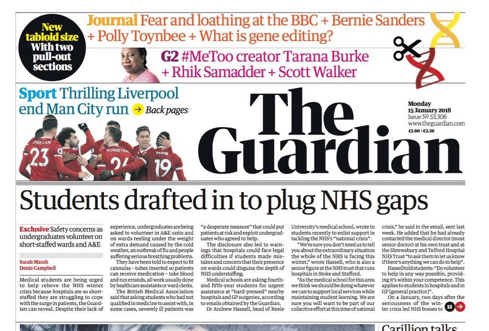 Guardian newspaper launches redesign, shifts to tabloid format to save costs