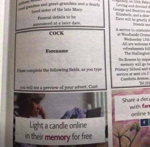 Scunthorpe Telegraph prints swear words on obituaries page