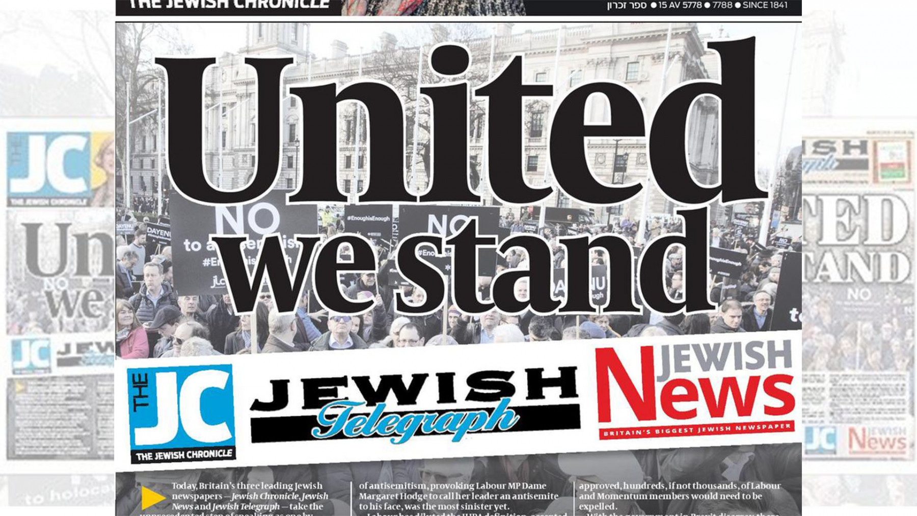 In joint editorial, UK Jewish newspapers warn Corbyn poses 'existential threat'