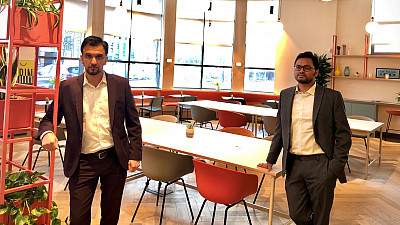Twin Dynamics co-founders Noukheaz Ahmed (left) and Shrawasti Sahare