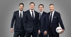Jamie Carragher (second left) joins Redknapp, Neville and Souness