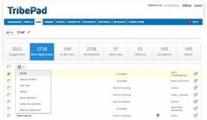 A screengrab of TribePad's 'Social ATS' platform