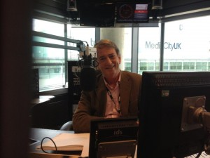 Burns in his BBC radio studio at MediaCityUK. Pic: Mary Macartney