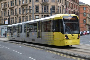 A Metrolink tram in Manchester city centre