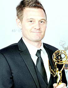 Sam Barker with his Emmy
