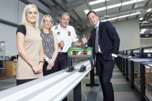 (l to r) Beth Saville of Fantastic Media, Katie Oxley & Andrew Denford of F1 in Schools and Richard Jones, Fantastic Media