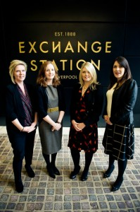 (l-r) Active Profile's Nicky Hughes, Jo Spragg and Anna Heyes with Emily Armstrong from the Exchange Station