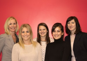 New staff (l-r) Leigh Purves, Sophie Greenwood, Joanna Drake, Stephanie Cureton and Andrea Smart