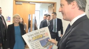 David Cameron visiting the Yorkshire Post offices in Leeds