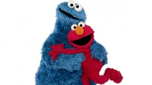 Cookie Monster (left) and Elmo