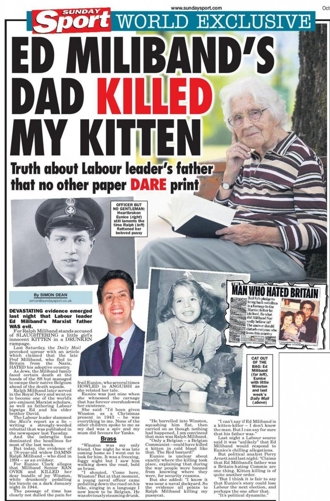 Sunday Sport steps into Daily Mail Ed Miliband row ...