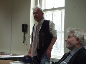Ray Gosling and Griffith Vaughn Williams speaking in 2009. Pic courtesy of LGBT History Month