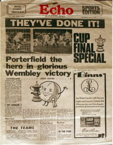 The Football Echo reports Sunderland's win in the 1973 FA Cup final