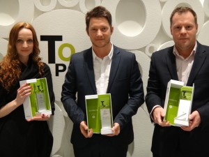 Erin Walmsley, Sam Burgess and Simon Bucktrout (from Team Impression) with the Top Applications Award