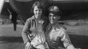 Major Jesse Davis of the 78th Fighter Group with a local Duxford girl. Image: IWM Roger Freeman Collection.