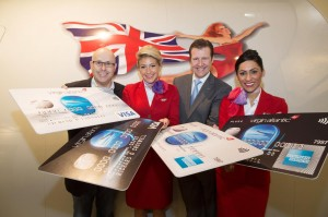 Virgin Atlantic's Alan Lias (left) and MBNA's Michael Donald with Atlantic Virgin cabin crew