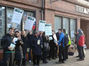 The picket line outside the The Press offices in York