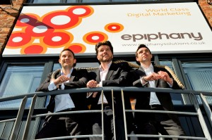 Epiphany co-founders Shane Quigley and Robin Skidmore (l and r) either side of CEO Rob Shaw
