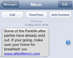 The text from Parklife