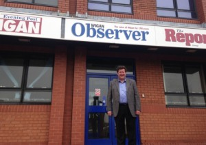 Stephen McManamon outside the offices. Image: Wigan Evening Post
