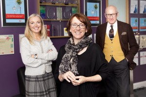 Hobson (centre) with head of PR Louise Vaughan and MD Peter Davenport