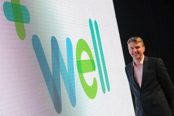 CEO John Nuttall with the new Well branding