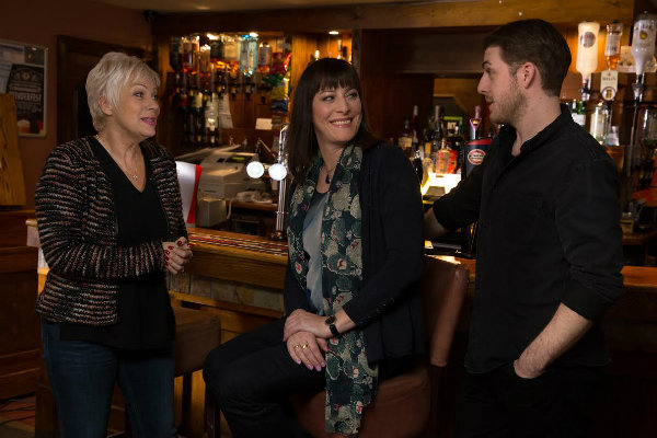 (right to left) Harry Hepple, Rebecca Root and Denise Welch in a scene from Boy Meets Girl