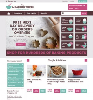 A screengrab of the new baking site