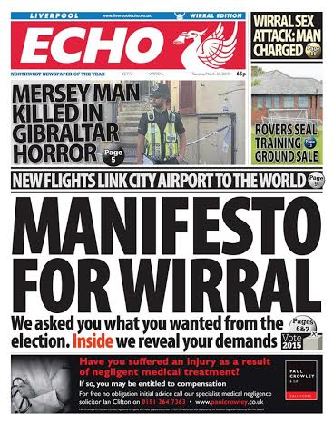 The front page of the Wirral edition of today's Liverpool Echo