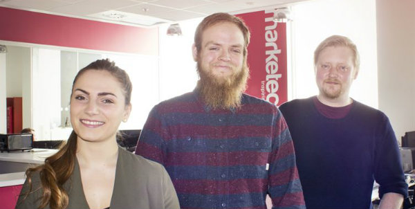 New starters (from left) Faye Sherlock, Arron Tierney and Oli Lill