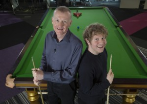 Steve Davis with Fighting Talk host Josh Widdicombe