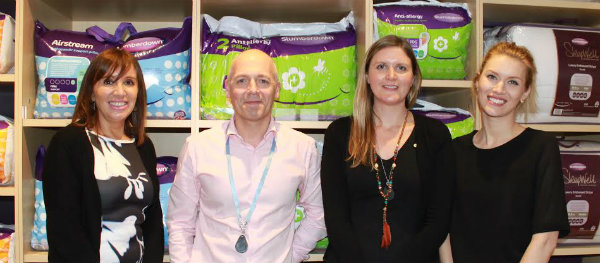 (from left) Liz Dimitrijevic, Brass head of PR, Slumberdown's David Page and Sally Hotchin, and Brass PR Account Manager Danielle Gourlay