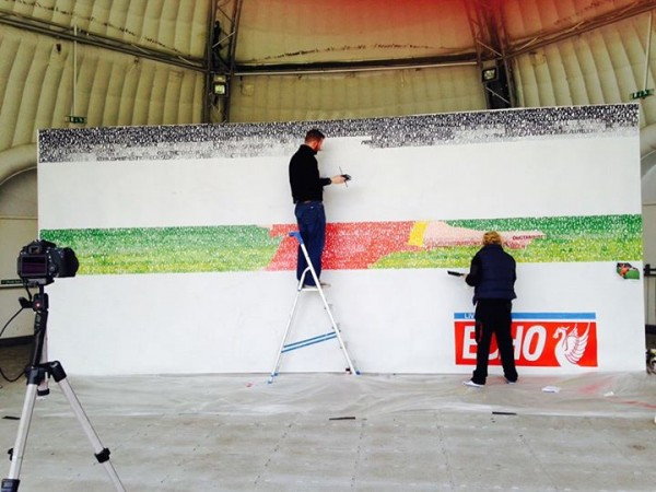 The Gerrard mural in progress