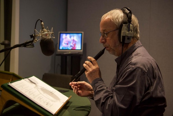 The scripted Clangers language, performed on a swanee whistle, being recorded for the new series