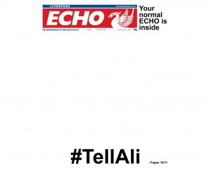 The black front page of today's Liverpool Echo