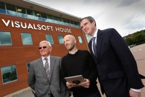 Staff from Visualsoft, including CEO Dean Benson (centre)
