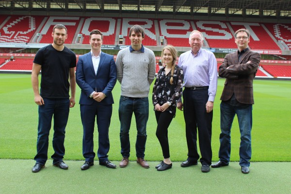 (l to r): PushON's Sam Rutley, Forest's Tom Peacock, PushON's David Selby and Laura David, Forest's Steve Dickman and Simon Wharton from PushON