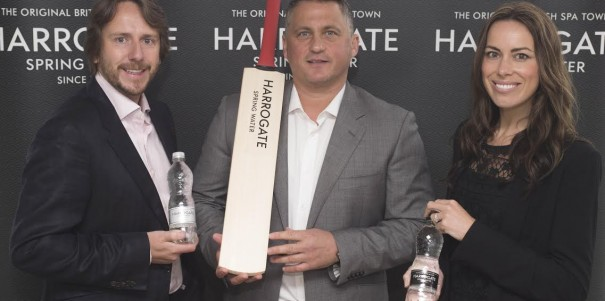 Harrogate Water Brands MD James Cain, marketing director  Nicky Cain and Darren Gough