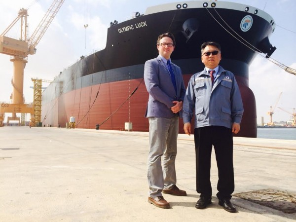 Polaris director Ben Pinnington in Oman Drydock with marketing director Johnny Woo