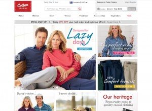 Cotton Traders' new dedicated Australian site