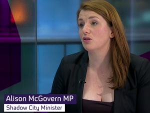 Alison McGovern appearing on Channel 4 News