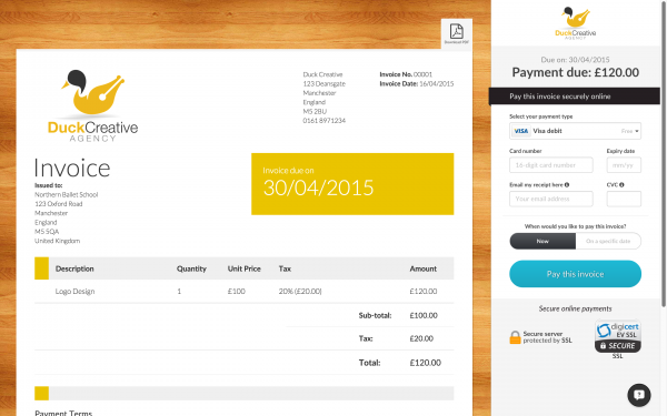 A screen-shot of a DueCourse invoice