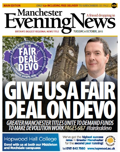 The front page of today's Manchester Evening News