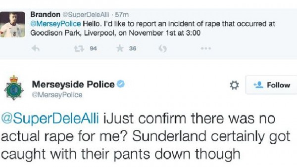 "The rape ""joke"" made on the official Merseyside Police account"