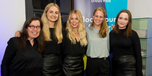 LR- Geraldine Vesey (Director, SKV Communications), Jessica MacDonald (AE), Holly Casswell (AE), Katie Allner (B2B Marketing Manager, Treatwell), Claire Williams (SAE)
