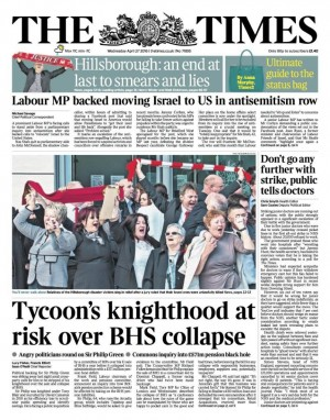 A later edition of The Times, including Hillsborough coverage on the front page